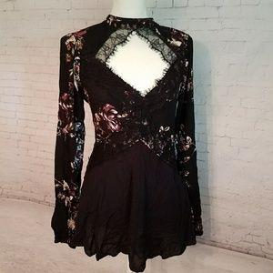 Black Lace & Floral Blouse
